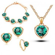 Retail Classical Wedding Heart Shape Jewelry sets Austrya Crystal Pendant Necklace Stud Earring Bracelet & Ring Charm Jewellery