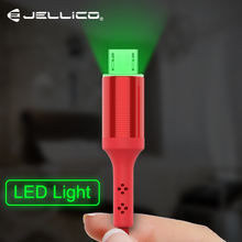Jellico LED Micro USB Cable 2.1A Fast Charging Data Cord Microusb Charger Cable Samsung Xiaomi Android Mobile Phone Cables