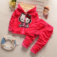 2016The new KT cat velvet thickeningKids girls suit  casual cotton hooded jacket + pants two suits baby / newborn clothing