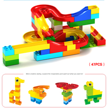 47/73PCS Funny DIY Colorful Construction Marble Race Run Pathway Toy Kid Boy Roll Ball Building Blocks Model Building Kits Newly