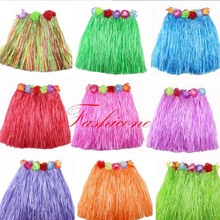 40cm Length Plastic Fibers Kid Grass Skirts Hula Skirt Hawaiian costumes Girl Dress Up Birthday Wedding Party Favors Gift