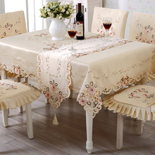 TC007 Floral Lace Edge Covers for Table Europe Style Wedding Tablecloth Embroidered Home Party Table Clothes High Quality(China)