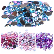 6mm 2000pcs AB Colors Nail Rhinestones for Shoes Clothing Decorations High Shine Sparkling DIY 3d Nail Charms Jewelry Acessories(China)