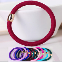 Super Quality Ponytail Elastic Holders Hair Accessories Nylon Colorful Gold Plated Button Girl Women Rubberbands Tie Gum