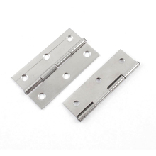2 Pcs Folding Closet Cabinet Door Butt Hinge with Screws 3 Inch Length Silver(China)