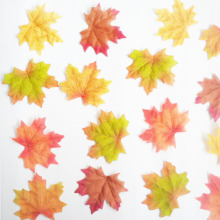 Package of Approximately 100pcs Assorted Rich Fall Colored Silk Maple Leaves Artificial Leaves