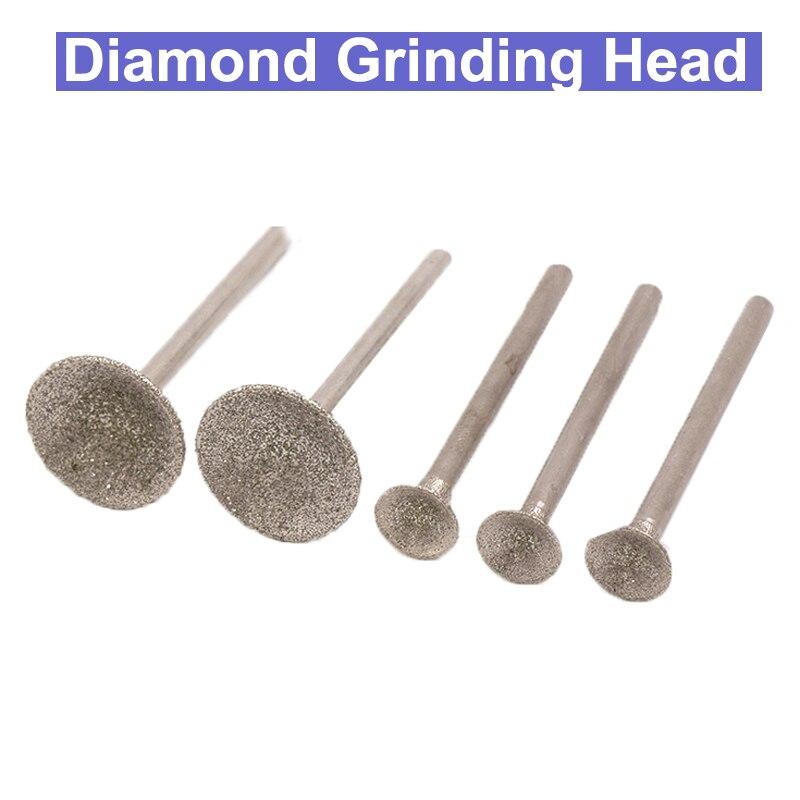 20Pcs Shank Diameter Diamond Grinding Head Bit Jade Carving Burrs Stone Metal