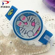 2017 Doraemon cat Cartoon Watches Kid Girls Silicone Straps Wristwatch children Quartz watch montre enfant montre femme PINBO