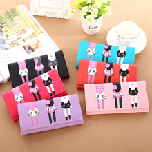 New Women Cat Cartoon Wallet Long Creative Card Holder Casual Ladies Clutch PU Leather Coin Purse
