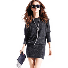 winter dress 2018 hot women dress cute casual active sexy dress wild slim Elegant long sleeve Plus size Batwing sleeve Sequins(China)