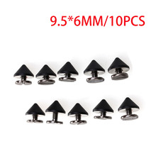 Nice 10pcs 9.5x6mm Gun Copper Black Punk Spike Rivet Screw DIY Cone Studs Nailhead Spots Fashion Unique Design Long Spike(China)