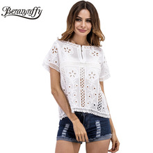 Benuynffy 2017 Summer New Style White Lace Blouse Women Elegant Short Sleeve Outer Wear Hollow Out Fashion Shirt Tops X220