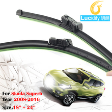 Black Car Soft Rubber Windscreen Rain Snow Wiper Blades For Skoda Superb 2008-2016 Frameless Windshield 1Pair