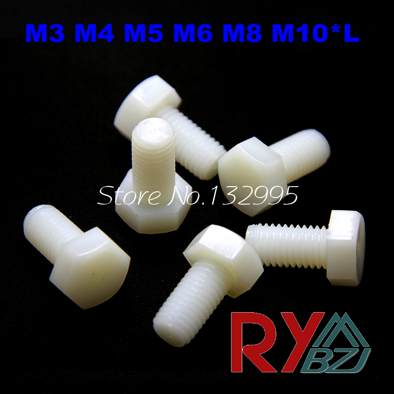 M3 M4 M5 M6 M8 M10*L  Nylon Hexagon bolt nylon hex bolt plastic screw White color Nylon DIN933<br><br>Aliexpress