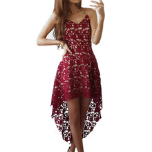 Ladies Hollow Out Fit & Flare Lace Cami Dress Plain Spaghetti Strap Sleeveless V Neck Midi A Line High Low Short Dress FUO#68