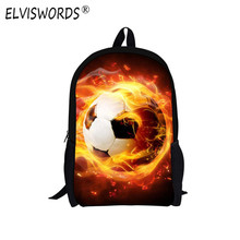 ELVISWORDS Soccer School Bags for Teenager Boy Bookbags Messi Schoolbag Teenagers Black Football Ball Bag Men Back Pack Mochila