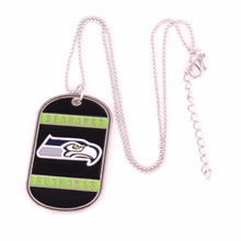 Sport Identification Necklace military dog tag style Seattle Seahawks with hand applied enamel colors Football team Necklace