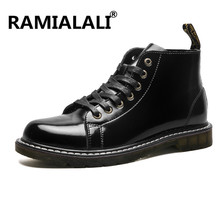 Ramialali Genuine Leather Men's Ankle Boots British Style Black Real Leather Martin Boot Casual Shoes High Top Chukka Boot(China)