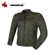 BENKIA Men's Motorcycle Jackets  Motocross Off-Road Racing Jacket Spring  summer Medieval retro style With Protector Guards