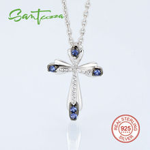 Silver Cross Pendant Fit for Necklace for Woman Blue CZ Diamond Cross Pendant 925 Sterling Silver Party Fashion Jewelry