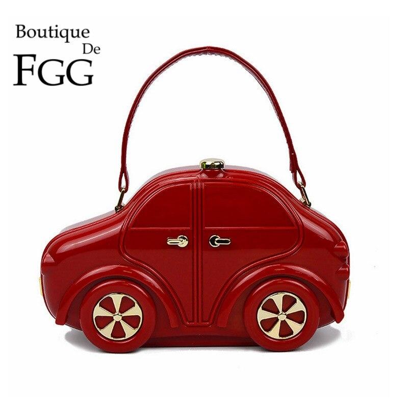 Famous Brand Red/Black Women Mini Acrylic Car Shape Handbags Hardcase Ladies Evening Party Clutch Bag Totes Shoulder Bag<br><br>Aliexpress