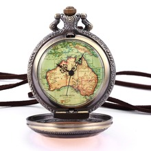 Vintage Copper Bronze Steampunk Australia Map Pendant Craft Flower Case Long Chain Fobs Quartz Pocket Watch Jewelry Gift/ WPK131(China)