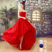 Long red white blue black champone short front long back sweat lady girl women princess bridesmaid banquet party dress gown(China)
