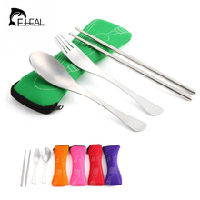 FHEAL Lunch Portable Stainless Steel Dinnerware Tableware Sets Cutlery Three-piece Environmentally Outdoor Travel(China)