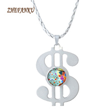 Hand Finger Spinner Dollar Shape Necklace Gyro Collar Choker Necklace Pendants Vintage Chain Women Jewelry(China)