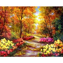 Hot New Rushed Diy Mosaic inlay 3d Painting Full Whole Square Drill Art Diamond Embroidery Cross Stitch Autumn Leaf Road Scenery
