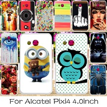 22 DIY Hard Plastic Mobile Phone Case Cover For alcatel OneTouch Pixi 4 4.0 inch OT4034 dual-SIM 4034D Version Back Covers Shell
