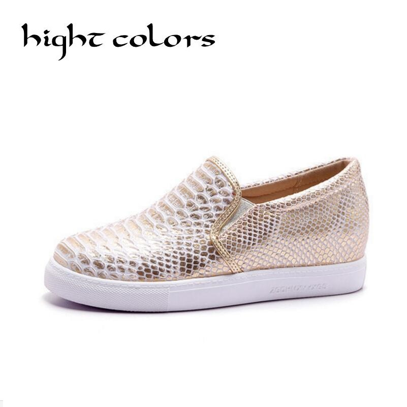 New 2018 Brand Women Snakeskin Loafers Flats Shoes Woman Casual Slip on Platform Shoes Gold Sliver Ladies Creepers Size 34-43<br>