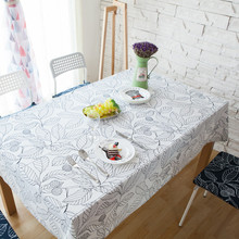 Tablecloth white black leaf table cloth cover for wedding party banquet home decorative cotton modern dust cover home textile