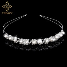 TREAZY Silver Color Crystal Imitated Pearl Hairband Wedding Party Tiara Bridal Hair Accessories Flower Girls Hair Jewelry