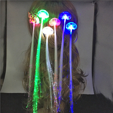 5Pcs 44CM Multicolor LED Flash Clip Hairpin Lighting LED Hair Braid Birthday Wedding Party Dance Celebration Supplies for Xmas(China)