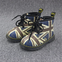 for: 1-3 year old children Winter Martin boots / British-style kids boots, flag pattern of boys and girls plus velvet warm boots