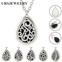 Free with Pads and Chain! Wholesale 28*38mm Magnetic Diffuser Pendant Teardrop Silver 316L Stainless Steel Aromatherapy Necklace(China)