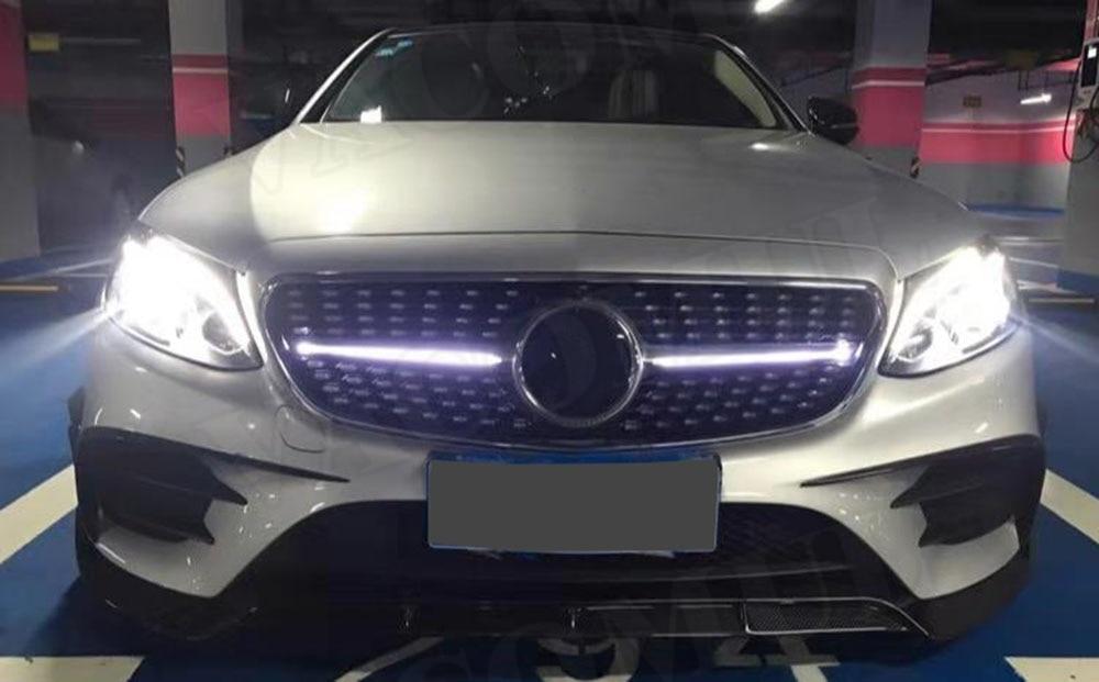 Front DIAMOND Chrome//Noir F0R Benz E Class 2016-2019 E200 E300 E400 E43 AMG