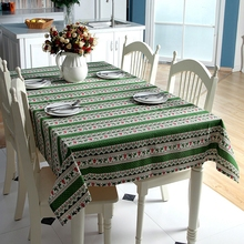 Christmas Tablecloths Linen Cartoon Deer Printed Rectangle Table Cover Classic European Home Party Festival Decor Table Cloth