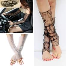 Dual Function Women's Fashion Summer Fishnet Silk Anti-UV Arm Gloves or Leg Lace Hollow Out Mesh Socks(China)