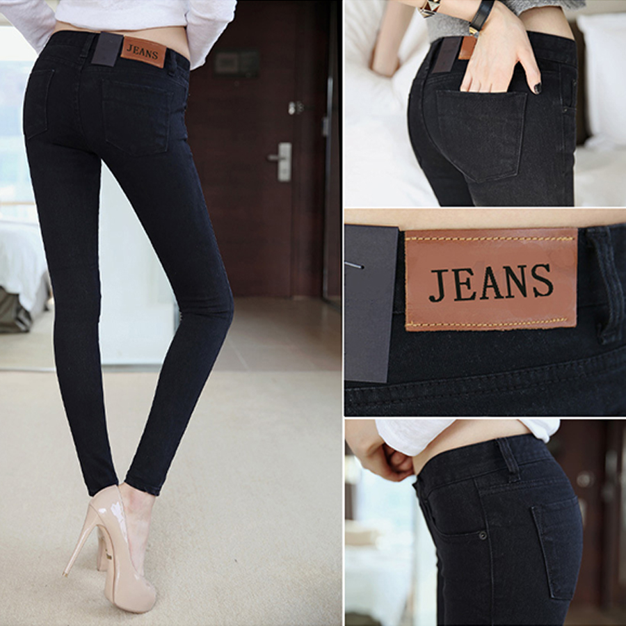 2017 Autumn Winter Middle waist Women Jeans Stretch Skinny Female Pencil Pants Black Color Casual Denim Boyfriend Plus size pantОдежда и ак�е��уары<br><br><br>Aliexpress