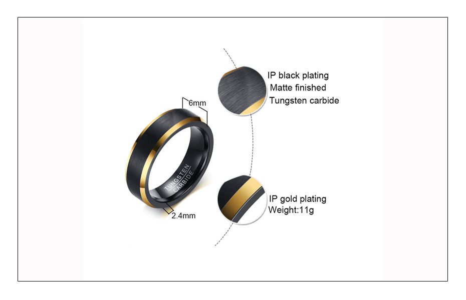 Meaeguet Black & Gold Color Tungsten Carbide Engagement Rings Jewelry Men Matte Brushed Wedding Bands USA Size 8-12 (5)