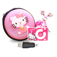 Mini Cartoon Hello Kitty MP3 Music Player Support TF Card Motion Mini Clip MP3+Hello Kitty Earphone+Mini USB+Hello kitty bag(China)