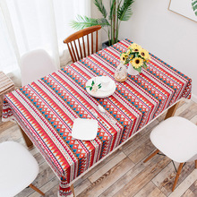 Buy Christmas Cotton Linen Tablecloth Table Cover Mediterranean Bohemia Folk Style Tea Table Cloth Red Blue Green for $10.35 in AliExpress store