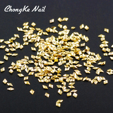 Hisenlee 500Pcs/Lot Rhombus Shape Gold Plating Mini Metal Copper Nail Art Decorations 3D DIY Nail Stickers Charms N10059-012