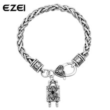 Star Of David Jewish Hebrew Sefer Torah Scroll Religious Charm Bracelet For Men Jewelry