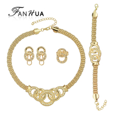 Luxuriant Jewelry Sets Gold-Color Geometric Circle with White Rhinestone Contained Necklace Earring Bracelet And Ring