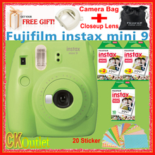 100% Real Fujifilm Instax Mini 9 Green + 50PCS Sheet Fujifilm mini White Film for Polaroid Instax Mini 8 70 90 NEO(China)