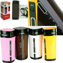 New Rechargeable USB Electric Heating Automatic Stirring Insulated Coffee Milk Tea Travel Mug Thermos Cup & Lid Warmer Free Ship(China)