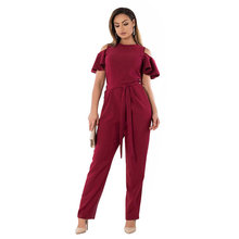 Buy 6XL Plus Size Summer Jumpsuits Women Clothing Fashion Large Size Shoulder Ruffles Short Sleeve Jumpsuits Long Pants Red Belt for $16.88 in AliExpress store
